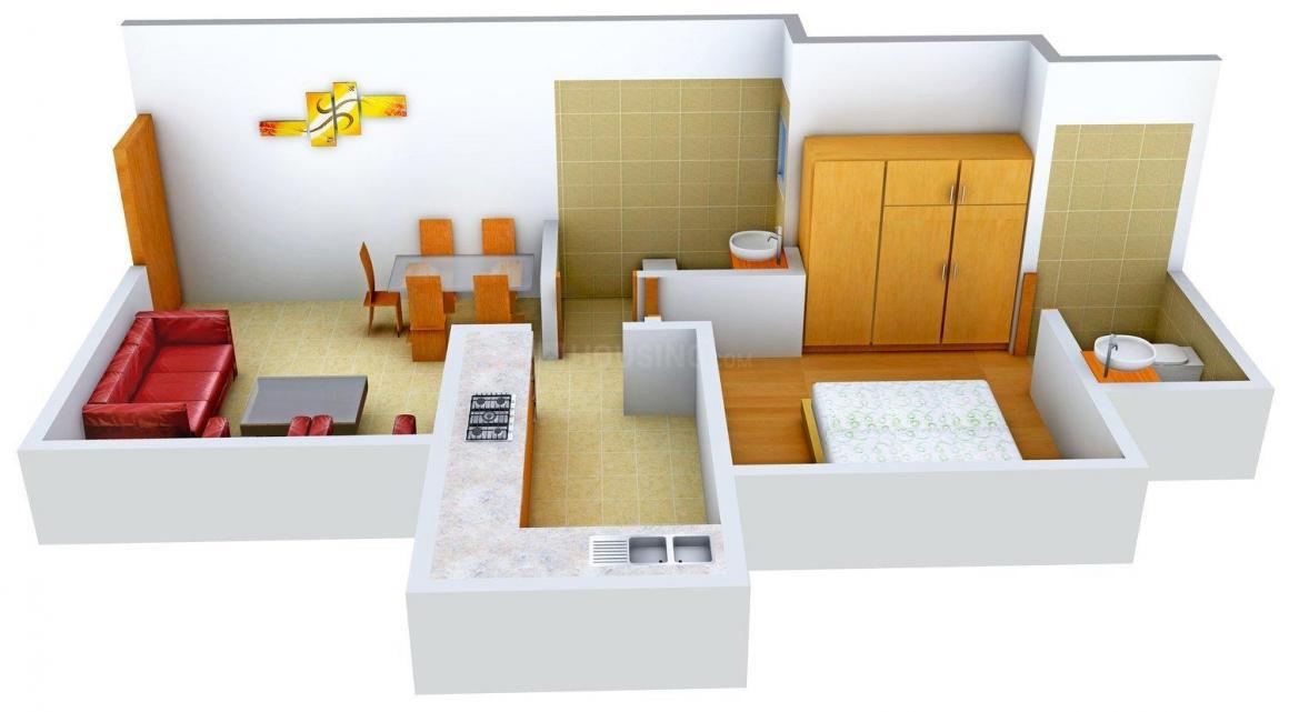 Floor Plan Image of 444.0 - 848.0 Sq.ft 1 BHK Apartment for buy in Srishti Solitaire