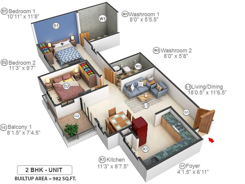 Akshaya Today Floor Plan: 2 BHK Unit with Built up area of 982 sq.ft 1