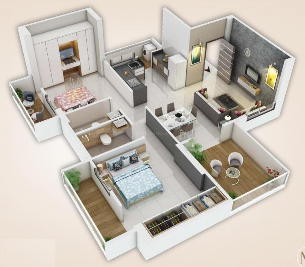 Saga Apartment Floor Plan: 2 BHK Unit with Built up area of 813 sq.ft 1