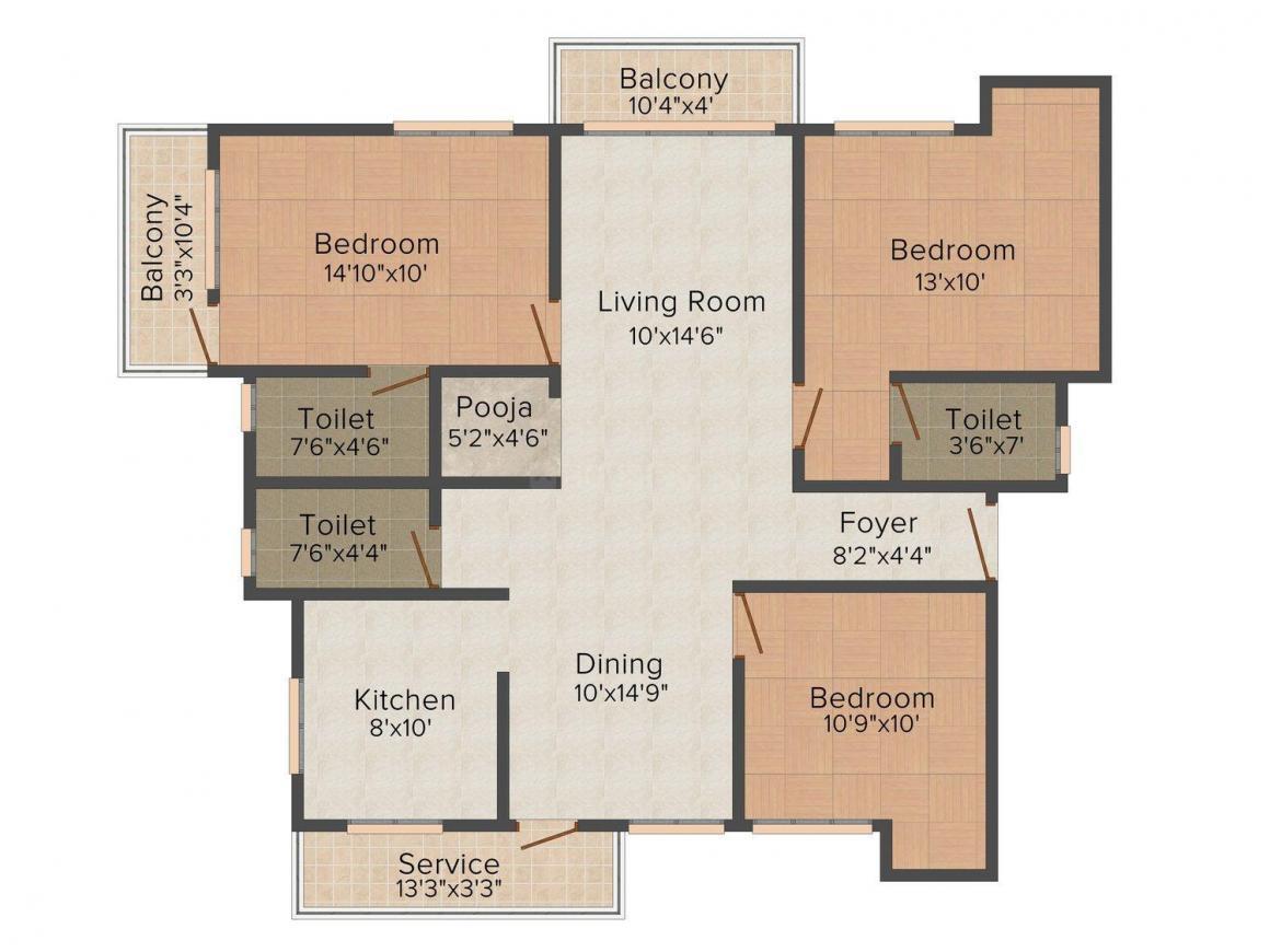 Floor Plan Image of 1505.0 - 1525.0 Sq.ft 3 BHK Apartment for buy in GRN Varadha Priya