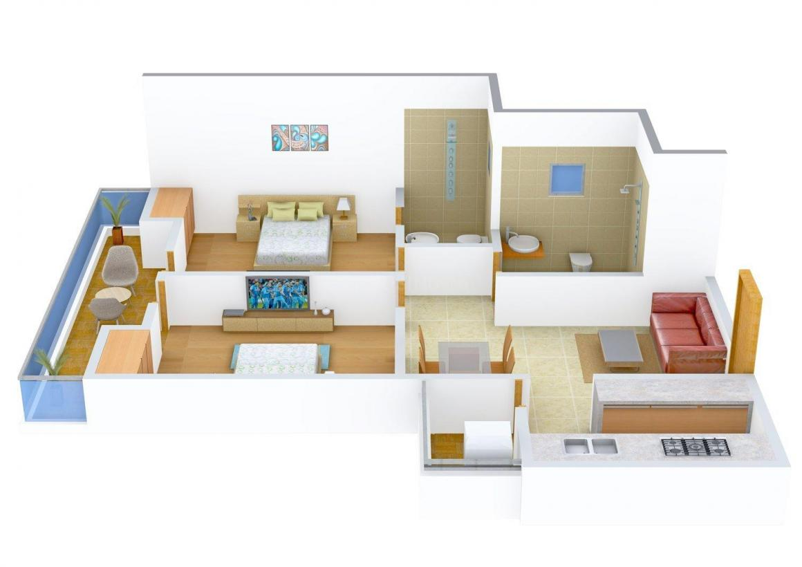 Floor Plan Image of 0 - 1150.0 Sq.ft 2 BHK Apartment for buy in Bhagwan Enclave