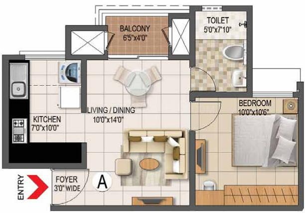 Prestige Primrose Hills Floor Plan: 1 BHK Unit with Built up area of 572 sq.ft 1