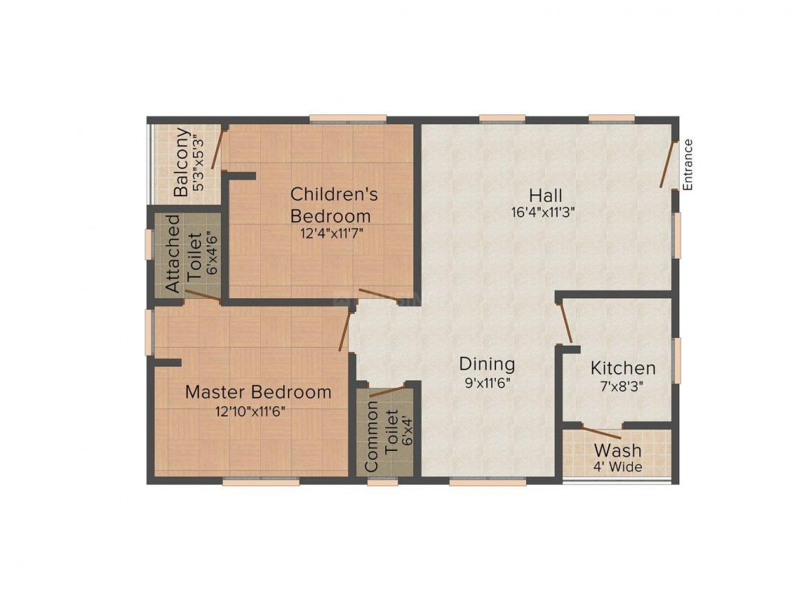 Floor Plan Image of 1160.0 - 1170.0 Sq.ft 2 BHK Apartment for buy in Surya Meadows