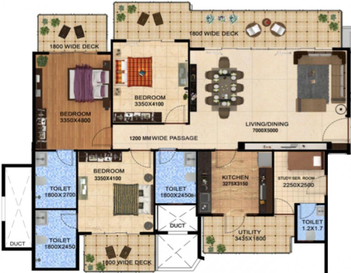 Ahinsha Naturez Park Floor Plan: 3 BHK Unit with Built up area of 2106 sq.ft 1