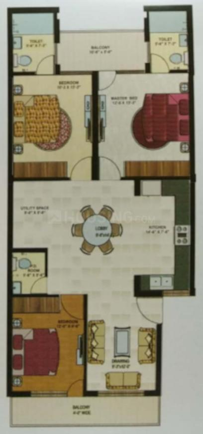 Proud nature buildtech Dream City Floor Plan: 3 BHK Unit with Built up area of 1305 sq.ft 1