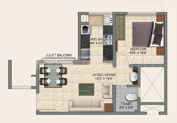 Floor Plan Image of 525.0 - 1300.0 Sq.ft 1 BHK Apartment for buy in Provident Park Square Phase 2