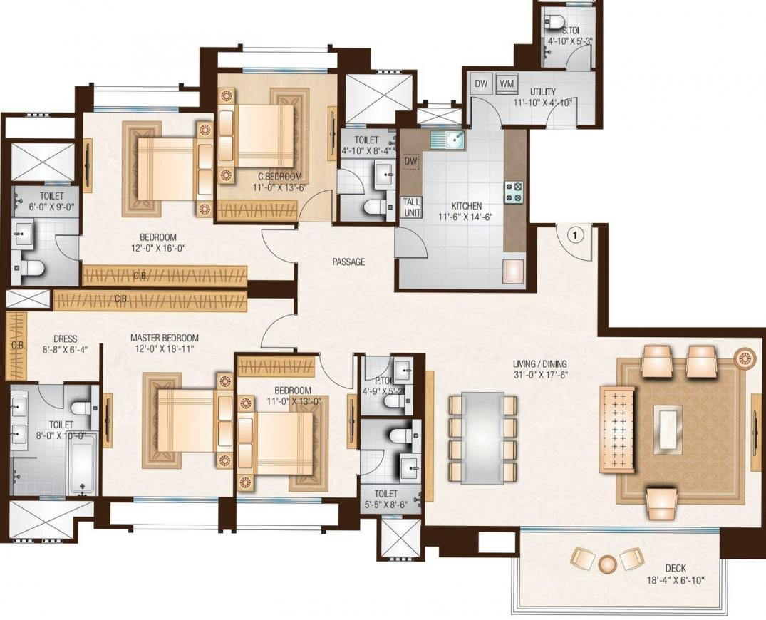 Hiranandani Eagleton Floor Plan: 4 BHK Unit with Built up area of 2163 sq.ft 1