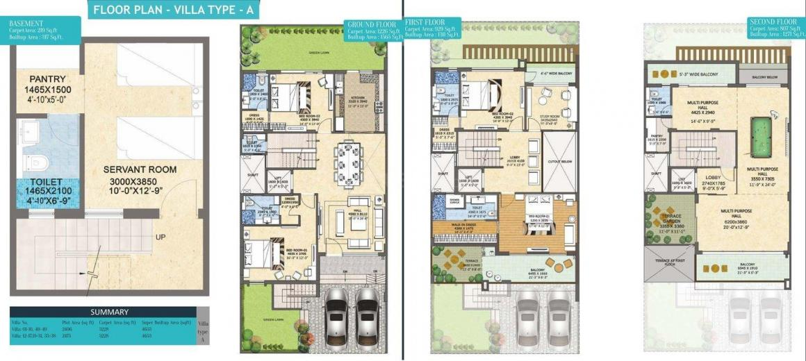 Rishita Mulberry Floor Plan: 4 BHK Unit with Built up area of 4653 sq.ft 1