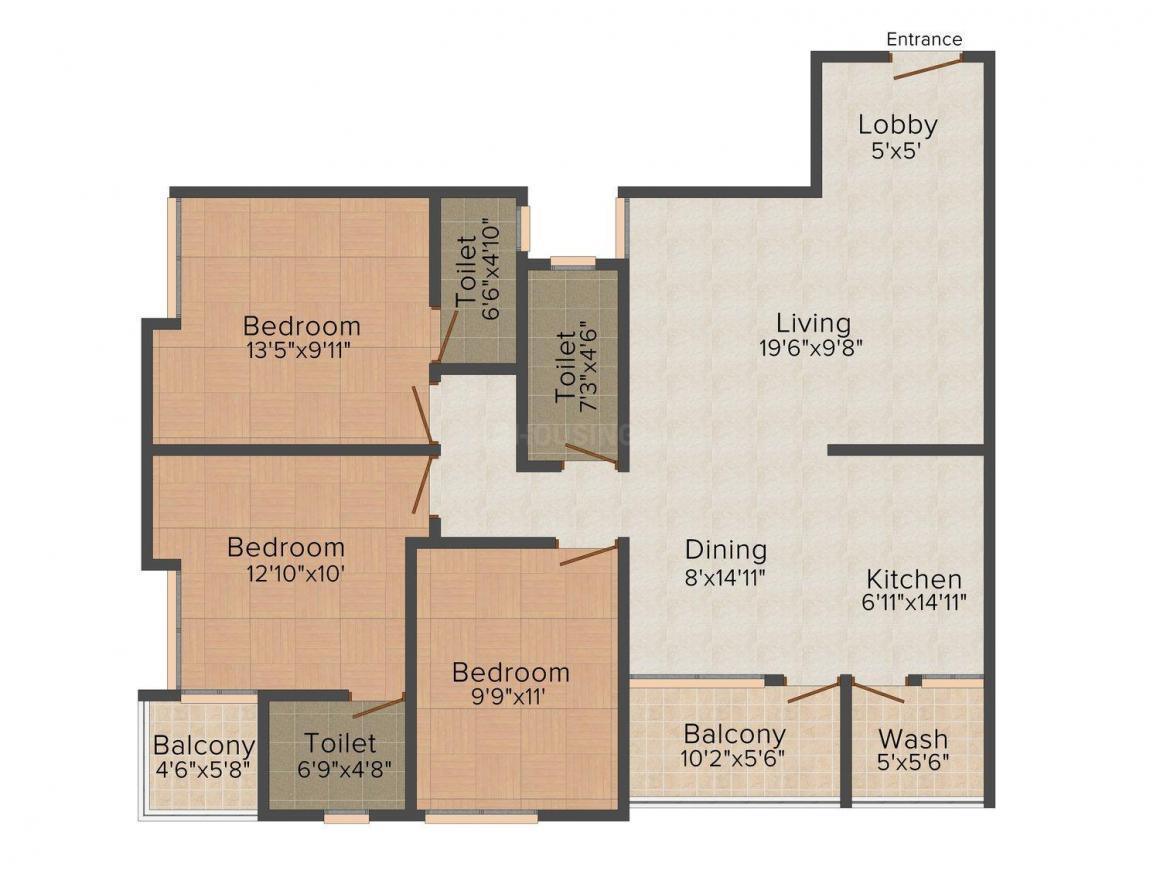 Floor Plan Image of 0 - 1685.0 Sq.ft 3 BHK Apartment for buy in Morya Regency