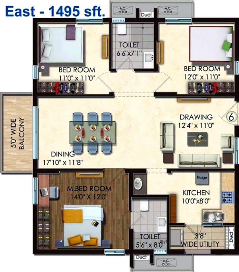 Honer Vivantis Floor Plan: 3 BHK Unit with Built up area of 1495 sq.ft 1