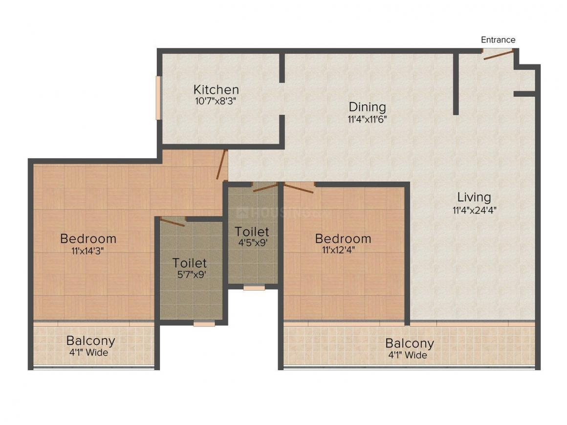 Floor Plan Image of 2085 - 4338 Sq.ft 2 BHK Apartment for buy in Risara Luxury