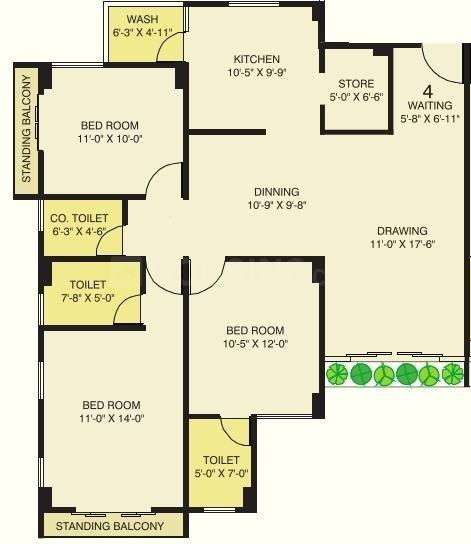 Merlin Ornate Floor Plan: 3 BHK Unit with Built up area of 1710 sq.ft 1
