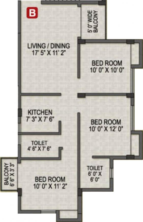 Magnolia Prime Floor Plan: 3 BHK Unit with Built up area of 1100 sq.ft 1