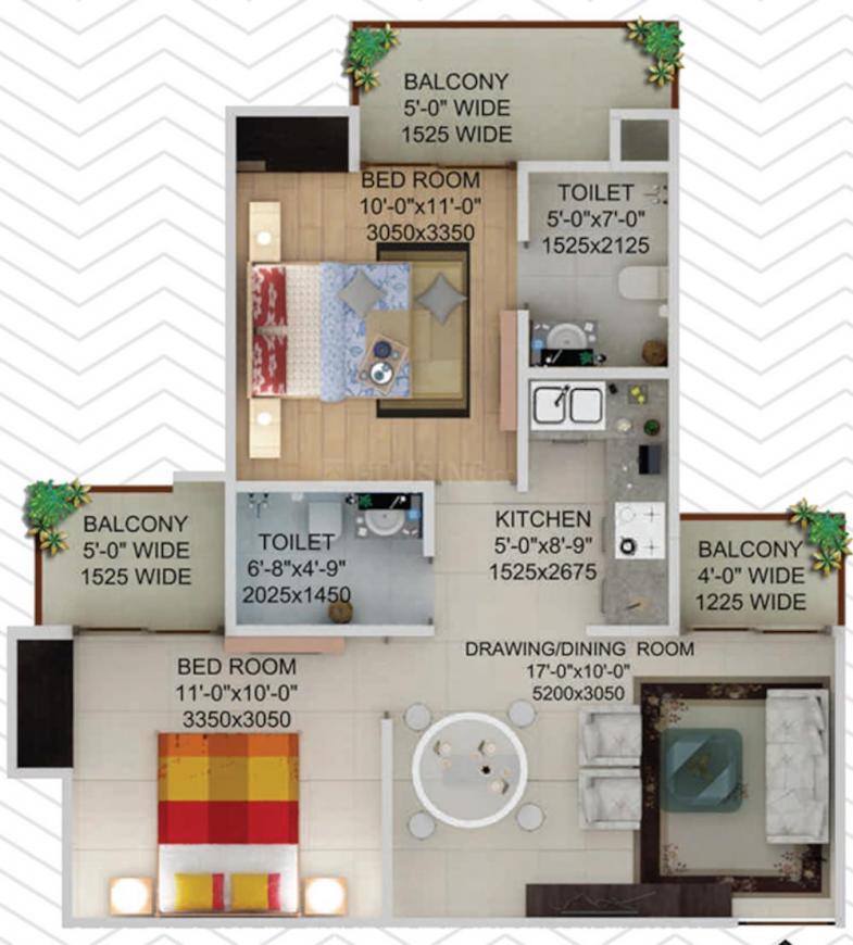 Supertech Crown Tower Floor Plan: 2 BHK Unit with Built up area of 930 sq.ft 1