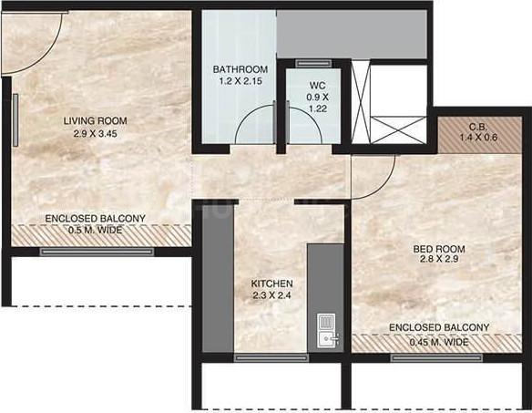 Vihang Golden Hills B3 Floor Plan: 1 BHK Unit with Built up area of 360 sq.ft 1