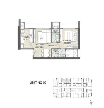 Kalpataru Elegante Floor Plan: 1 BHK Unit with Built up area of 448 sq.ft 1