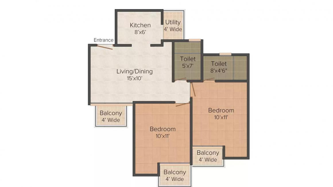 Ajnara City Floor Plan: 2 BHK Unit with Built up area of 895 sq.ft 1