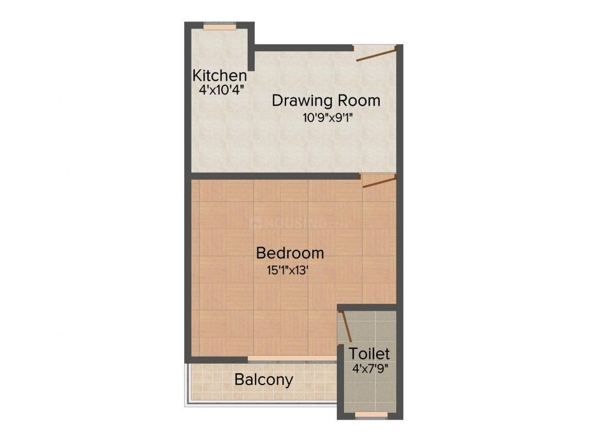 Hightech Deo Raj Apartment Floor Plan: 1 BHK Unit with Built up area of 412 sq.ft 1