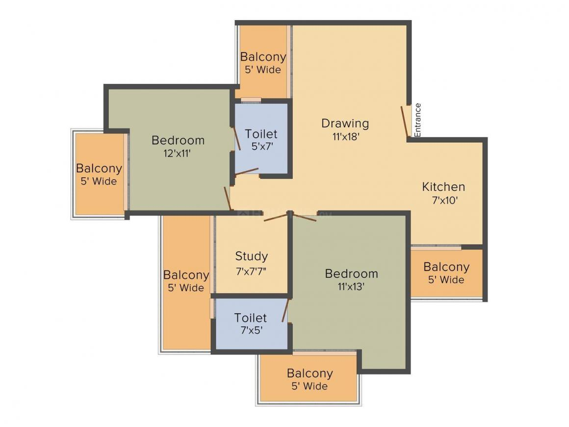 Raghunandan Divine Lotus Greens Floor Plan: 2 BHK Unit with Built up area of 1295 sq.ft 1
