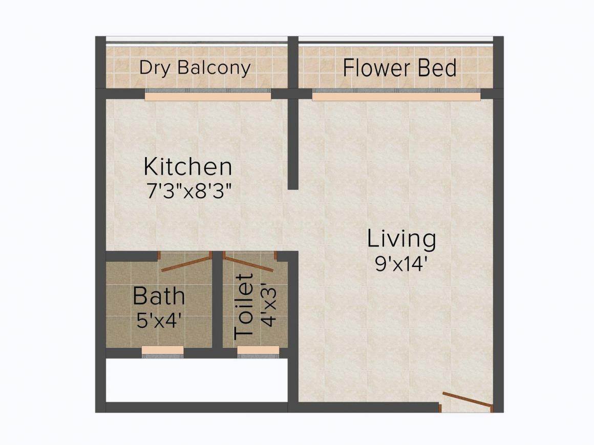 Floor Plan Image of 385 - 720 Sq.ft 1 RK Apartment for buy in Mangalam Gokul Grand