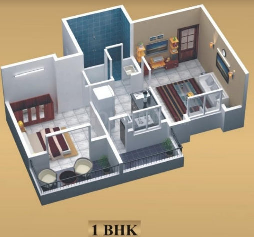 Matoshree Residency Floor Plan: 1 BHK Unit with Built up area of 475 sq.ft 1