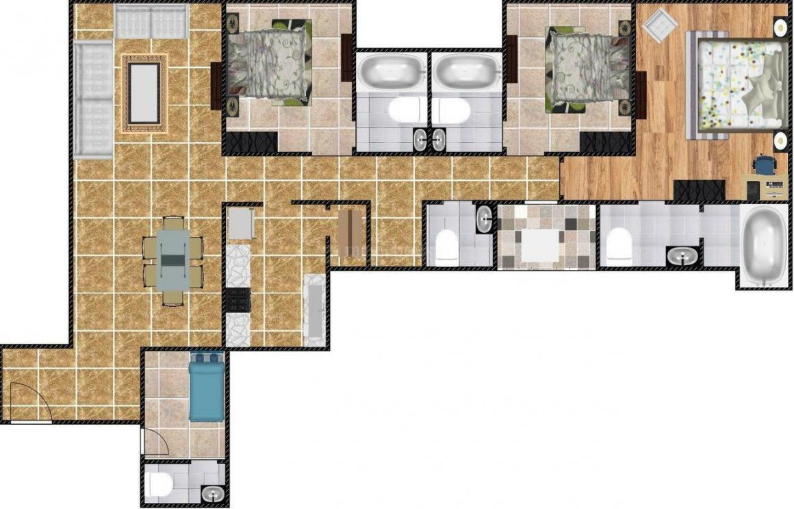 Lodha Park Floor Plan: 3 BHK Unit with Built up area of 2088 sq.ft 1