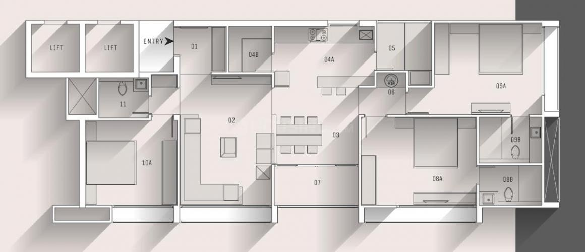 Cloud 9 Floor Plan: 3 BHK Unit with Built up area of 2295 sq.ft 1