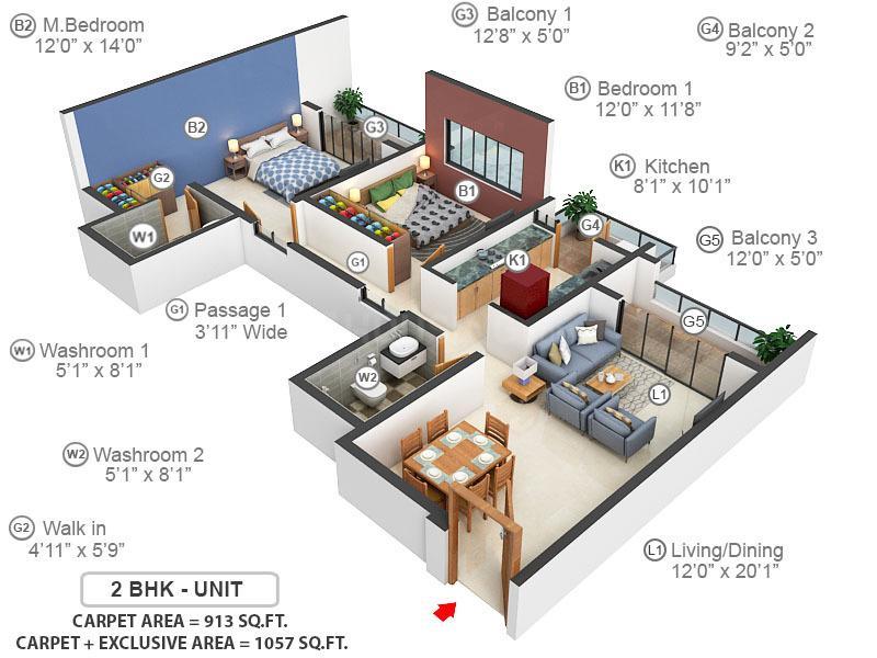 Godrej Habitat Floor Plan: 2 BHK Unit with Built up area of 913 sq.ft 1