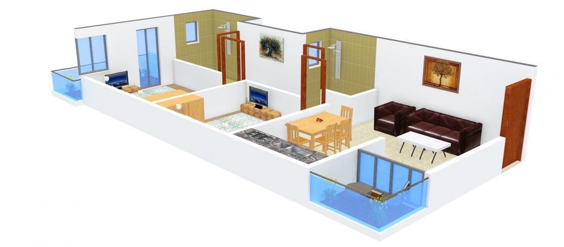 BR Shreeya Avenue Floor Plan: 2 BHK Unit with Built up area of 907 sq.ft 1