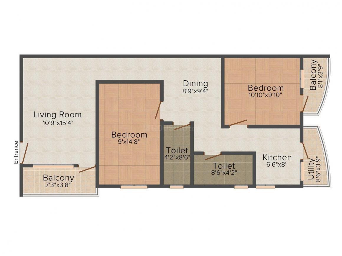 Vikram Vishwas Olive Floor Plan: 2 BHK Unit with Built up area of 966 sq.ft 1