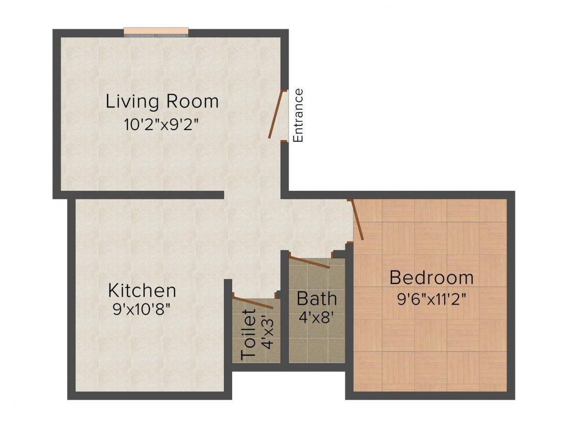 Floor Plan Image of 558 - 806 Sq.ft 1 BHK Apartment for buy in Shree Shivram Suvarna Varsha