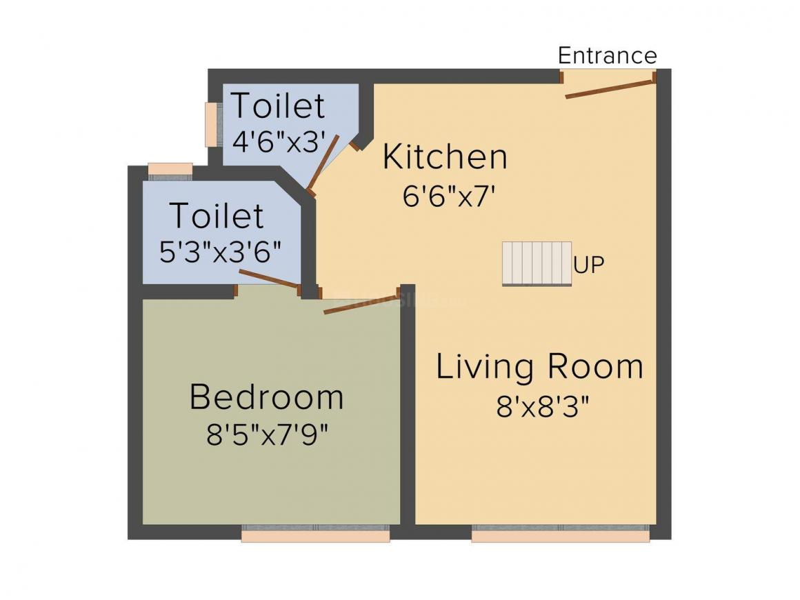Aarambh Floor Plan: 1 BHK Unit with Built up area of 247 sq.ft 1