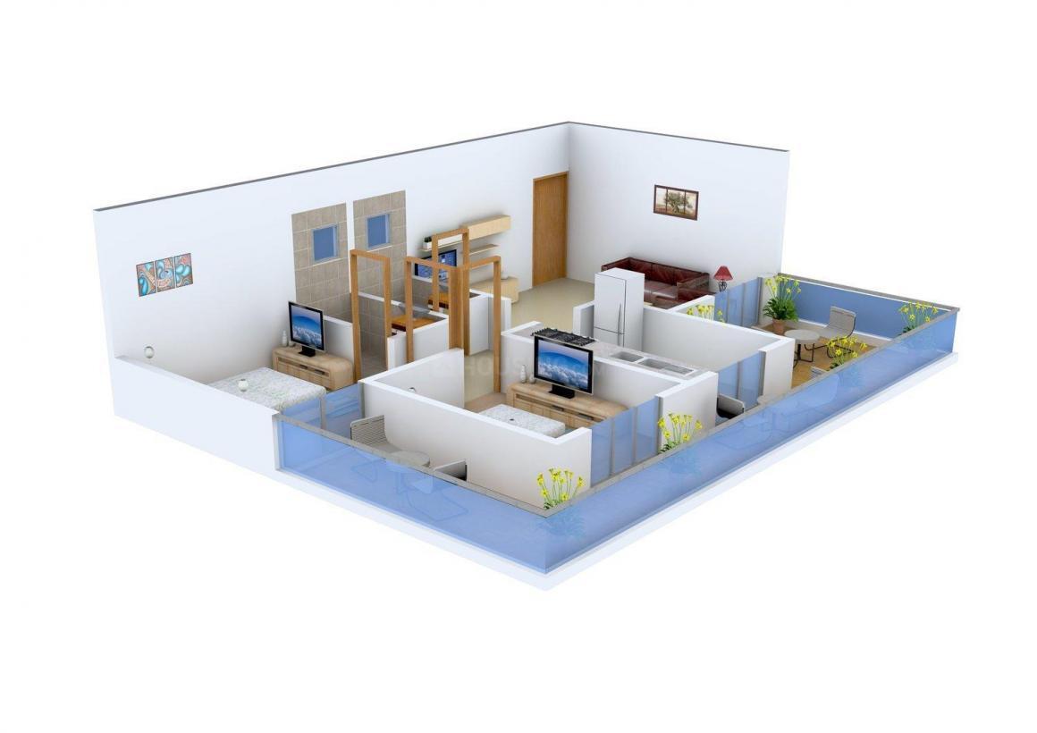Floor Plan Image of 780.0 - 895.0 Sq.ft 2 BHK Apartment for buy in Mansarovar Blue Mount Edifice