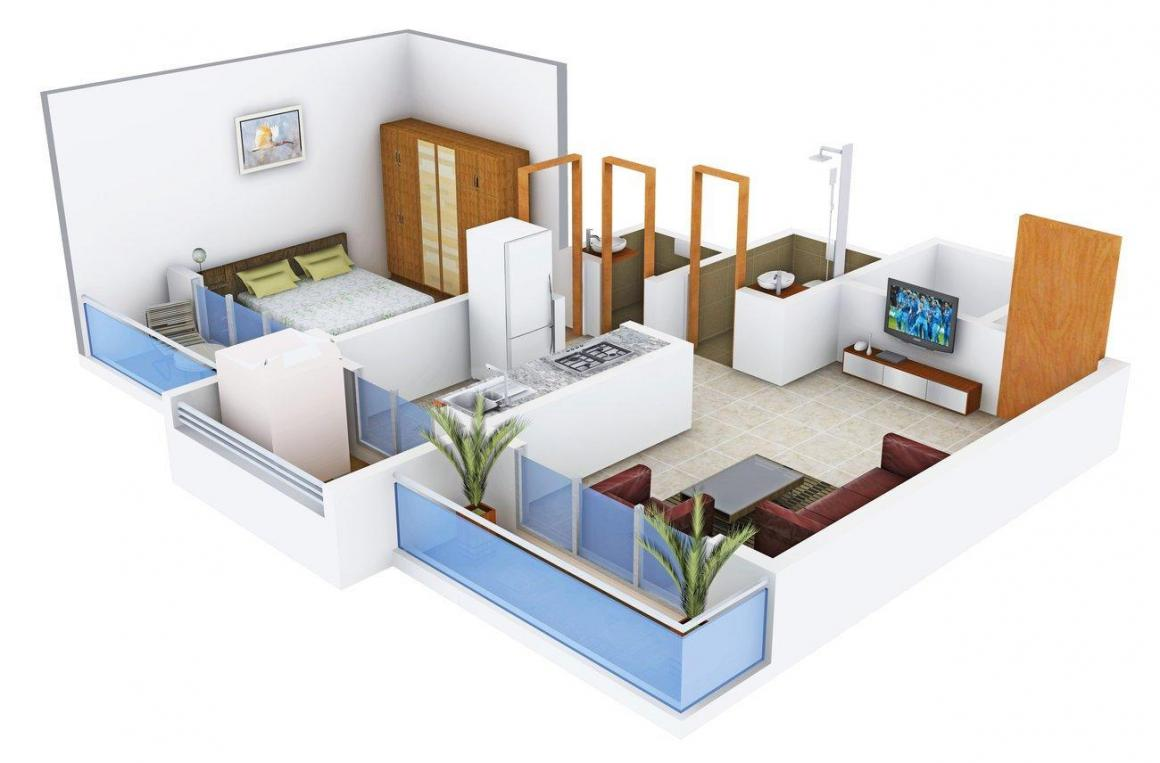 Floor Plan Image of 660 - 910 Sq.ft 1 BHK Apartment for buy in Shagun Mangal Neel