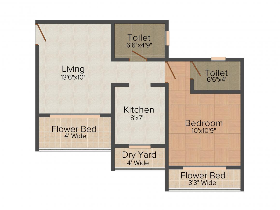 SK Imperial Heights Floor Plan: 1 BHK Unit with Built up area of 396 sq.ft 1