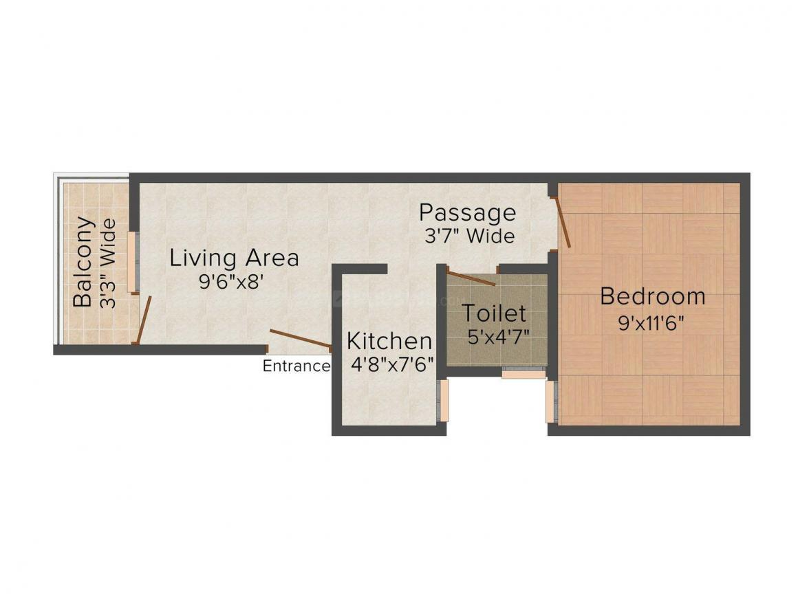 Dream Homes - V Floor Plan: 1 BHK Unit with Built up area of 450 sq.ft 1