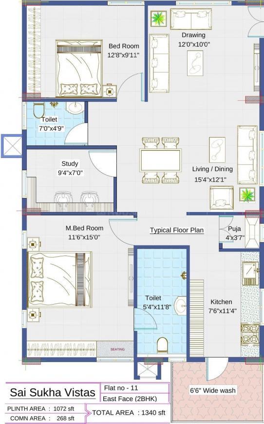 Sai Pragathi Sukha Vistas Floor Plan: 2 BHK Unit with Built up area of 1340 sq.ft 1