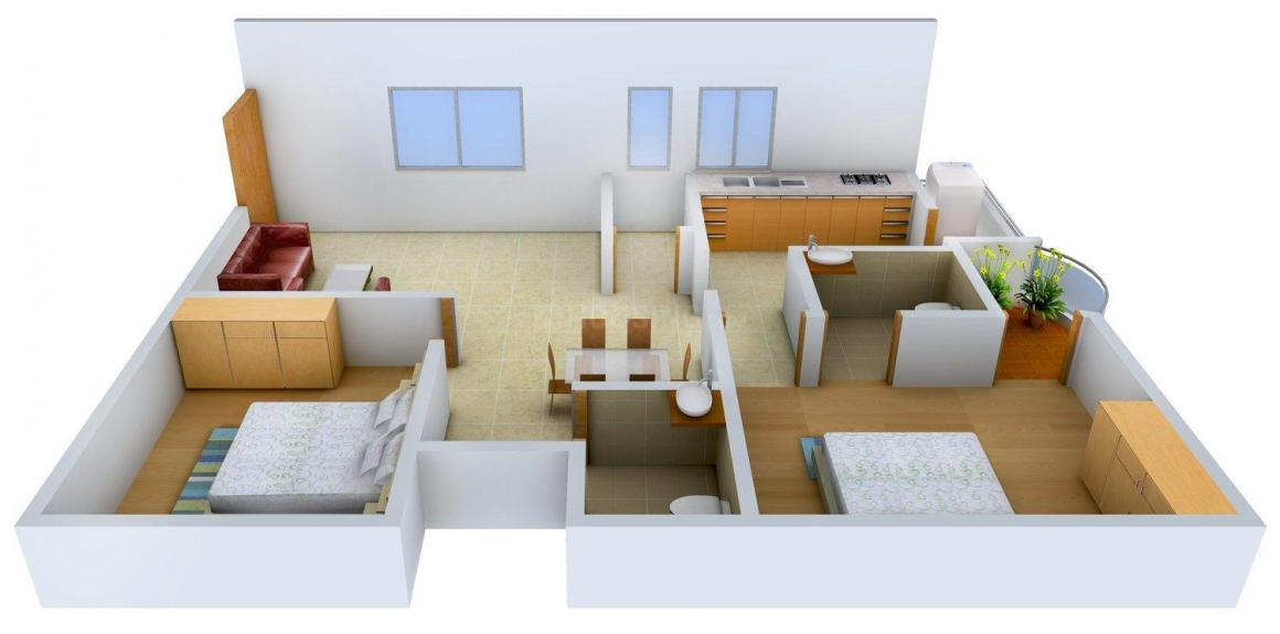 Floor Plan Image of 1057.0 - 1431.0 Sq.ft 2 BHK Apartment for buy in PN Residency