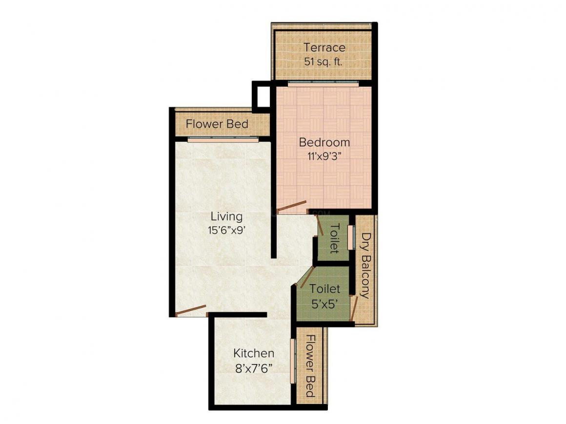 Floor Plan Image of 0 - 525.0 Sq.ft 1 BHK Apartment for buy in Dolphin Park View