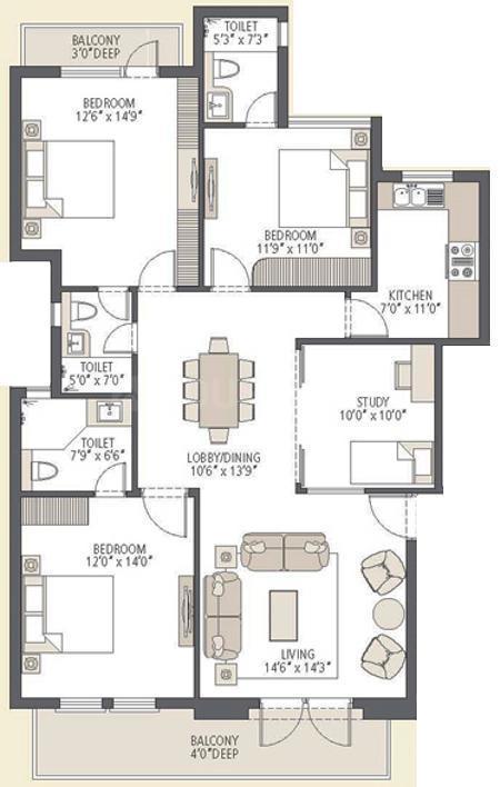 Emaar Emerald Floors Premier Phase 3 Floor Plan: 3 BHK Unit with Built up area of 1650 sq.ft 2