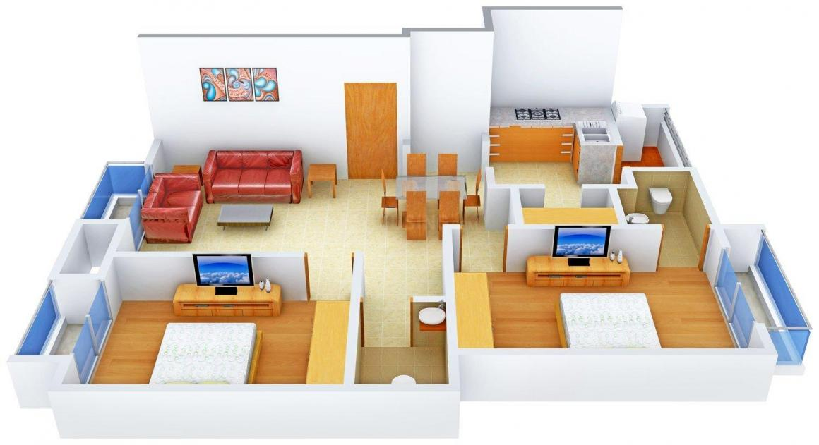 AVS Kavya Apartments Floor Plan: 2 BHK Unit with Built up area of 1021 sq.ft 1