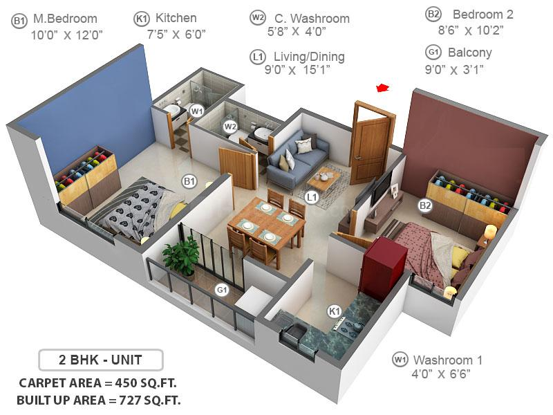 Codename Chennai's Best – Manhattan Condos at OMR Floor Plan: 2 BHK Unit with Built up area of 450 sq.ft 1