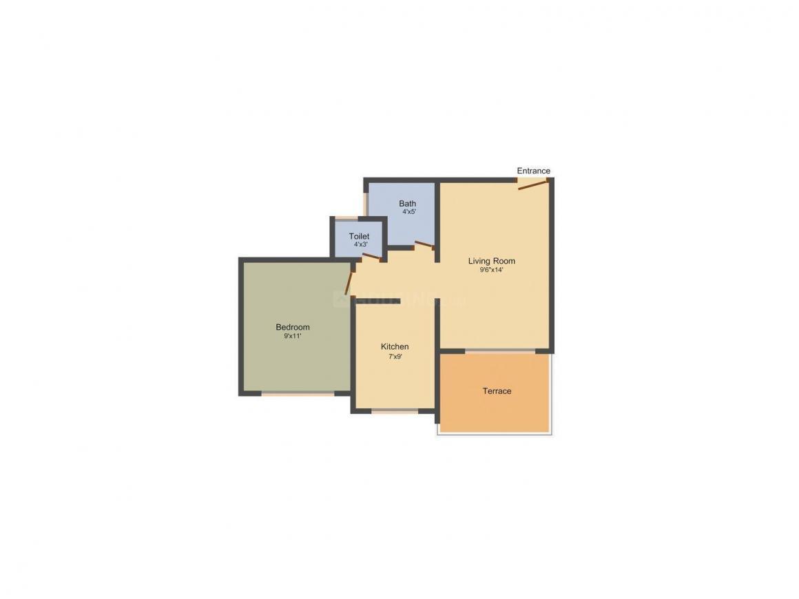 Floor Plan Image of 535.0 - 860.0 Sq.ft 1 BHK Apartment for buy in Metro Residency