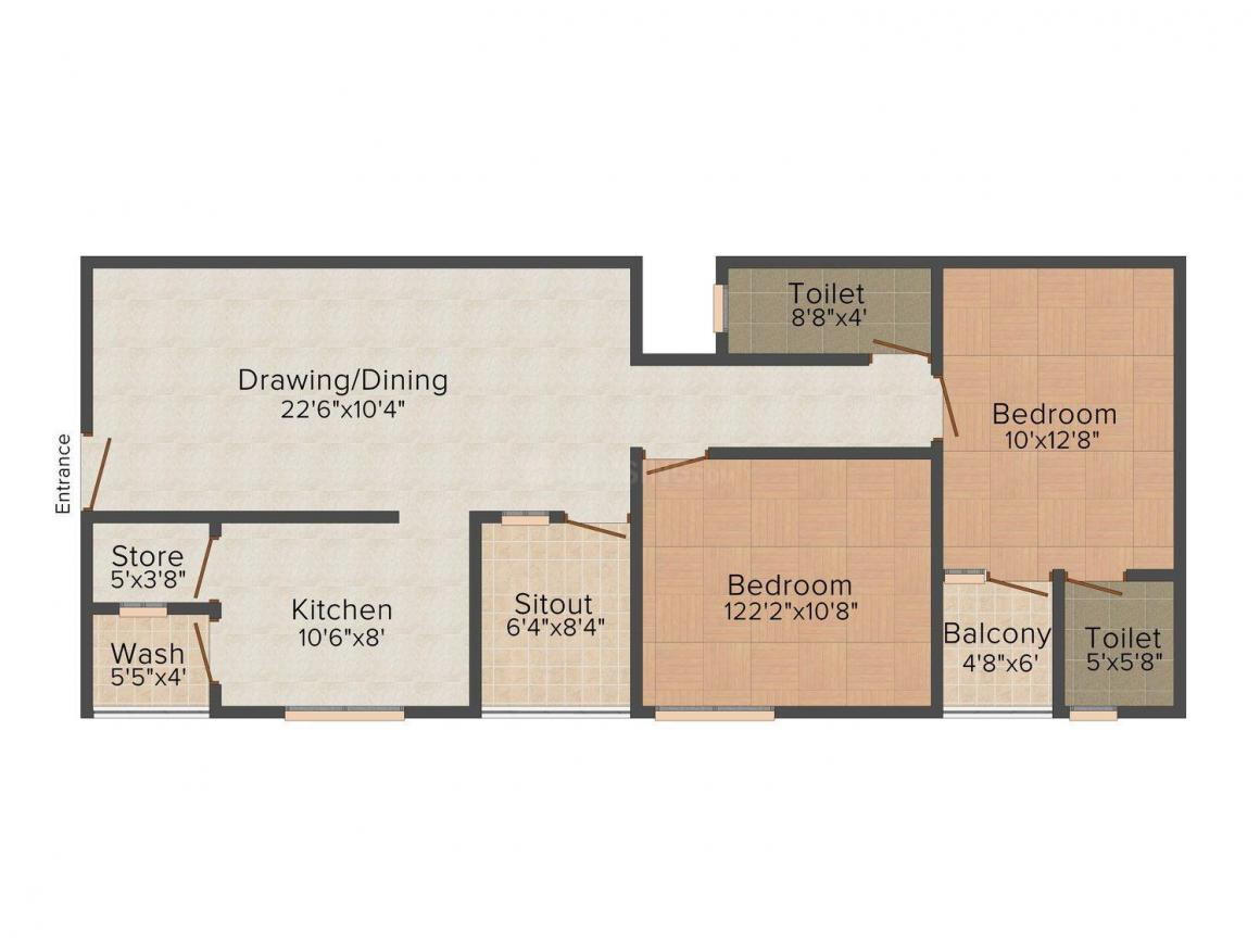 Floor Plan Image of 889 - 1236 Sq.ft 2 BHK Apartment for buy in Vishal Green View