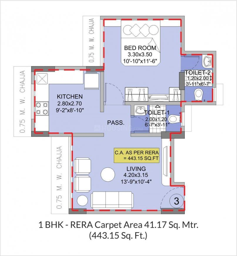 Integrated Arya Floor Plan: 1 BHK Unit with Built up area of 443 sq.ft 1
