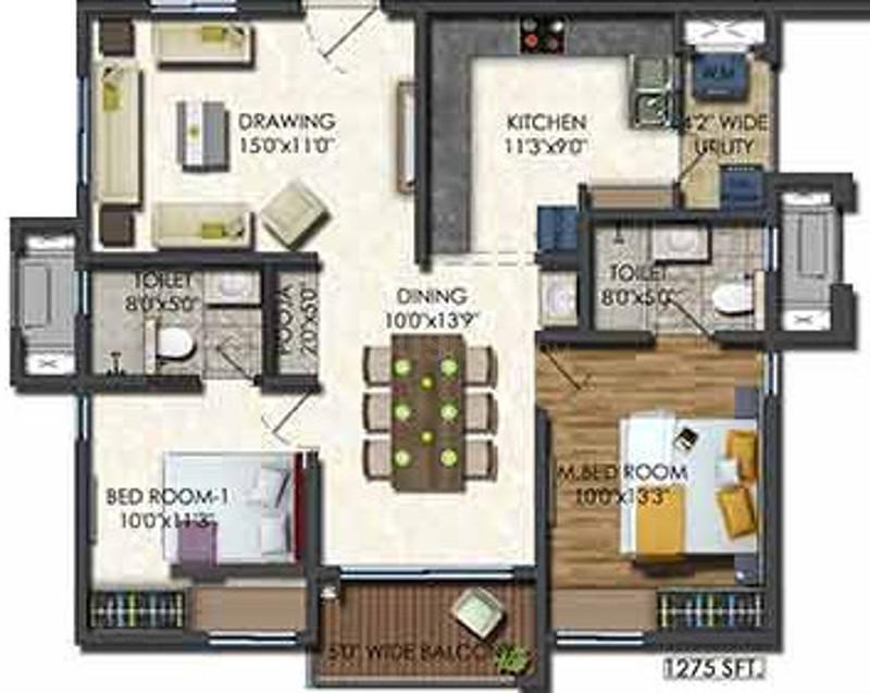Aparna Sarovar Zenith Floor Plan: 2 BHK Unit with Built up area of 1275 sq.ft 1