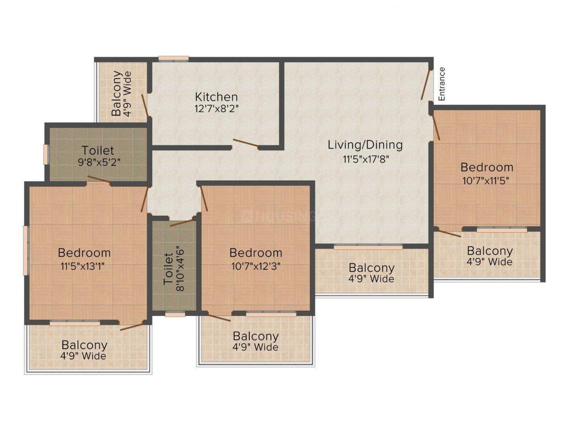 Floor Plan Image of 947.0 - 1636.0 Sq.ft 1 BHK Apartment for buy in Naroo Palmanova