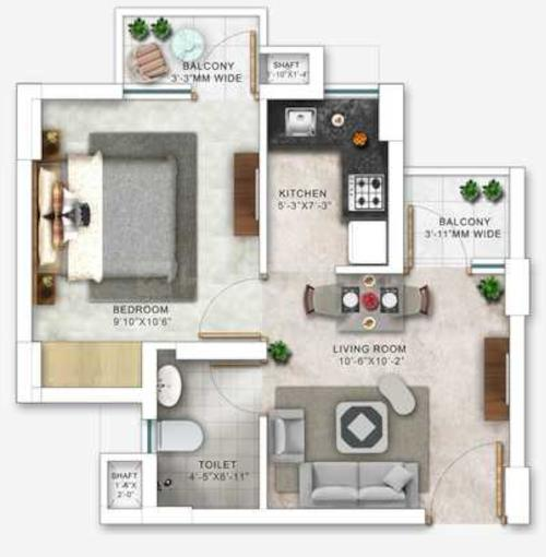 Paarth Humming Retreat Phase 1 Floor Plan: 1 BHK Unit with Built up area of 525 sq.ft 1
