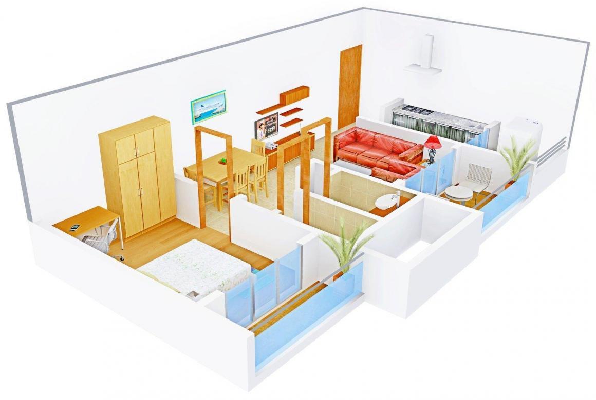 Floor Plan Image of 472 - 625 Sq.ft 1 BHK Apartment for buy in Saarvi Residency