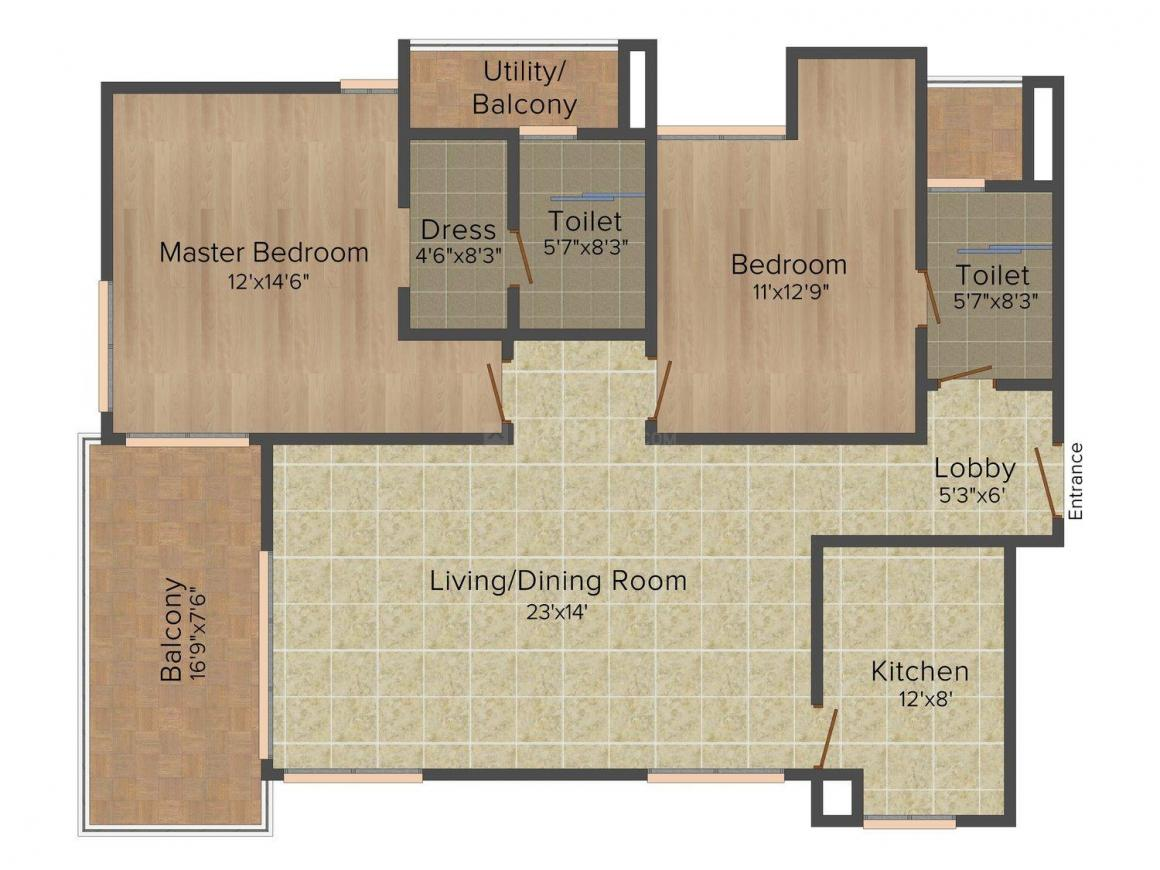 Floor Plan Image of 1588.0 - 1785.0 Sq.ft 2 BHK Apartment for buy in Unitech Verve